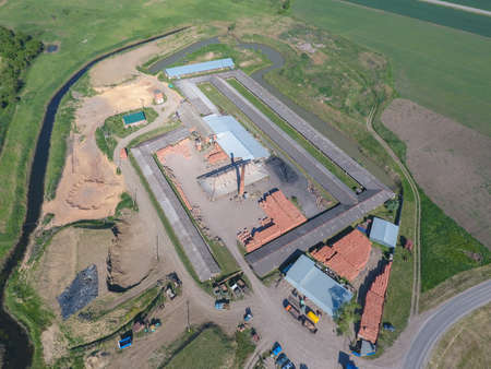 brick kiln: Brick production plant. Top view of a small factory for firing bricks.