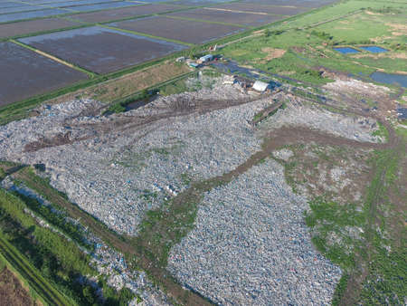 landfills: View landfill birds-eye view. Landfill for waste storage. View from above. Stock Photo