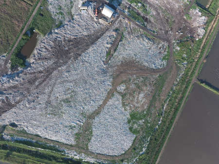 landfill: View landfill birds-eye view. Landfill for waste storage. View from above. Stock Photo