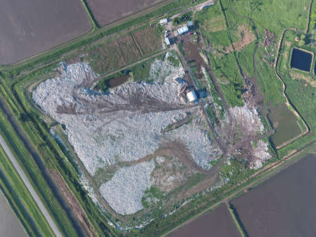 turbidity: View landfill birds-eye view. Landfill for waste storage. View from above. Stock Photo