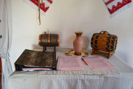 suggestions: Russia, Ataman - 26 September 2015: Table with souvenir kegs and gratitude records of visitors.