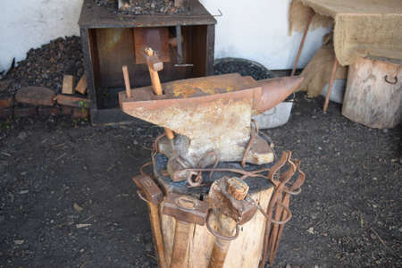 forger: Old forge anvil. Reconstruction of life of Cossacks of Kuban.