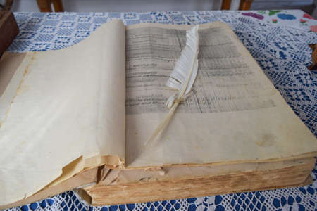 entries: An old book and quill pen accountant. Entries in the ledger accountant. Stock Photo