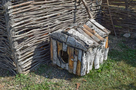 doghouse: Doghouse birch near woven fence. Small house for a dog.