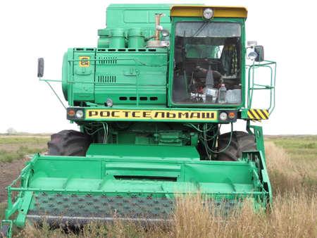 harvesters: Russia, Poltavskaya village - September 6, 2015: Combine harvesters Don. Agricultural machinery.
