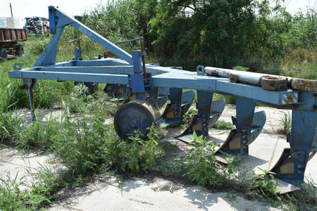 seed drill: Trailer Hitch for tractors and combines. Trailers for agricultural machinery. Stock Photo