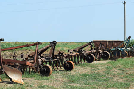 combines: Trailer Hitch for tractors and combines. Trailers for agricultural machinery. Stock Photo