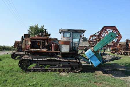 Combine harvester. Agricultural machinery for harvesting from the fields. Stock Photo
