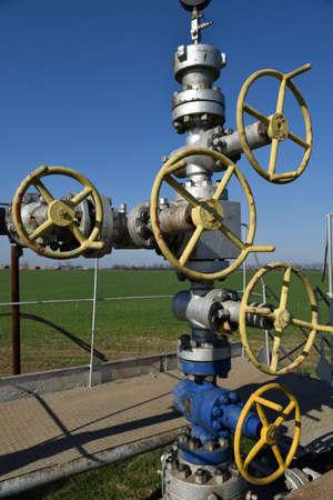 pozo petrolero: Oil well. The equipment and technologies on oil fields. Foto de archivo