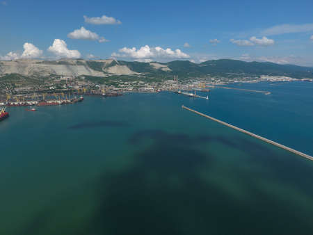 mol: Top view of the bay Tsemess. The international sea port of Novorossiysk. Mol - building to stop the waves.