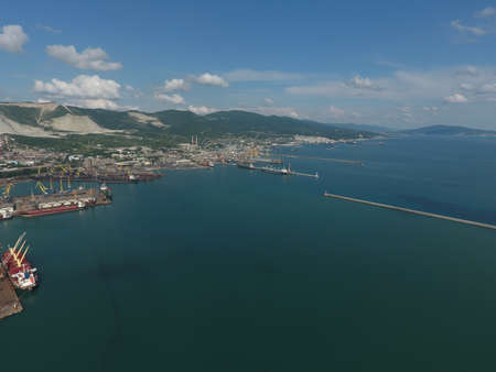 mikhail: Top view of the bay Tsemess. The international sea port of Novorossiysk. Mol - building to stop the waves.