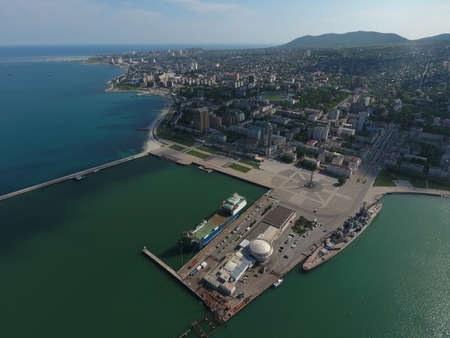 sea port: Top view of the marina and quay of Novorossiysk. Urban landscape of the port city. Stock Photo
