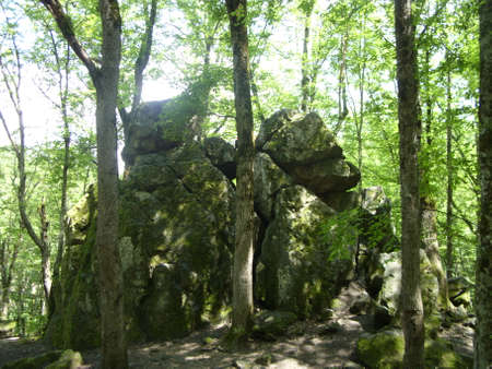 ta: Ruins of the ancient temple. Kuban, mountains of the Caucasus.