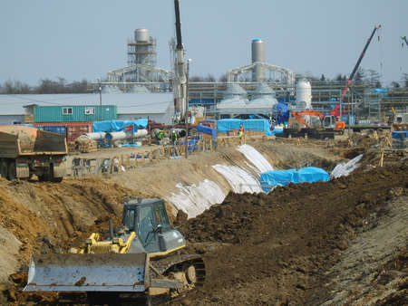 internally: Sakhalin, Russia - 12 November 2014: Construction of the gas pipeline on the ground. Transportation of energy carriers.