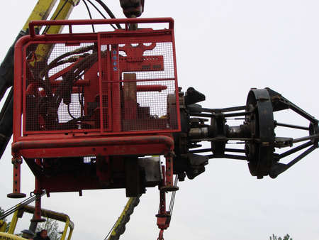 deconstruct: Sakhalin, Russia - 12 November, 2014: Loading of the piston for the pipeline.
