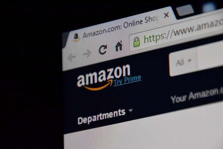 amazon com: Russia, Poltavskaya village - August 13, 2016: Open a browser tab on Amazon.com - the largest online trading platform.