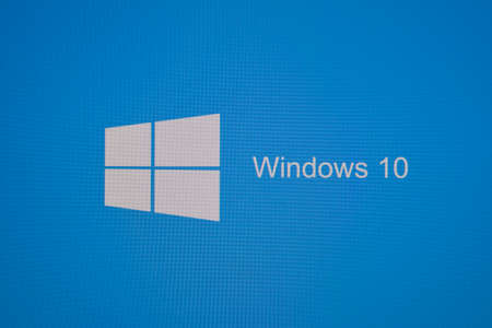 operating system: Russia, Poltavskaya village - August 13, 2016: The logo screen in Windows 10 operating system.