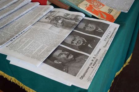 churchill: Russia, Ataman - 26 September 2015: Soviet newspapers in World War II. Article about the meeting of Churchill, Stalin and Roosevelt.