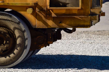 compaction: The front of the tractor compactor. Industrial machine.