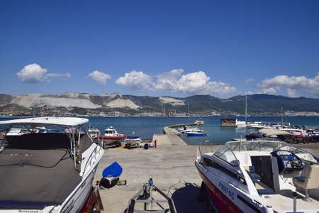 yacht club: Novorossiysk, Russia - September 9, 2016: yachts in the yacht club. Yachts sailing diving enthusiasts. Port of Novorossiysk.
