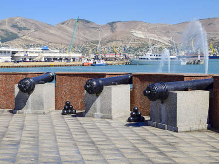 nuclei: Novorossiysk, Russia - September 9, 2016: Gun with nuclei. Museum specimens in the open air on the promenade.