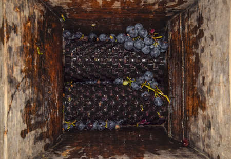 crush: Manual mechanism for crushing grapes. Crush the grapes into juice and wine.