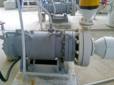 viscosity: The pump for pumping hot products of oil refining. Equipment refinery.