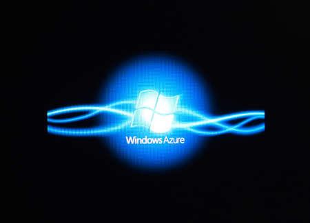 azure: Russia, Poltavskaya village - August 13, 2016: Logo Azure Window. Appearance of the logo in the windows 10