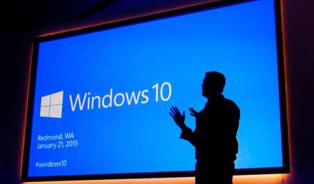 Russia, Poltavskaya village - August 13, 2016: The logo screen in Windows 10 operating system.