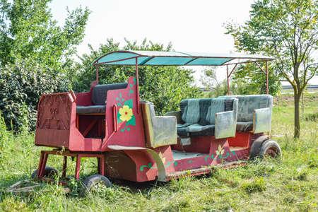 Playground for children, decorative car carriage. Children's fun. Banque d'images