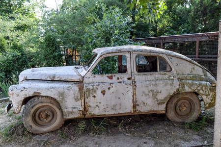 rusty car: Old rusty Soviet car Victory . Rare exhibit