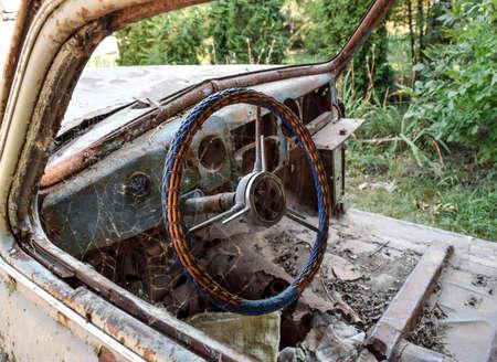 rusty car: Old rusty Soviet car Victory . Rare exhibit.