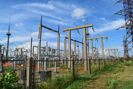 Electric substation. power transmission equipment. Stobo, wires and insulators