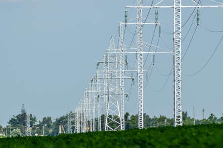 Transmission tower on a background field of soybeans.