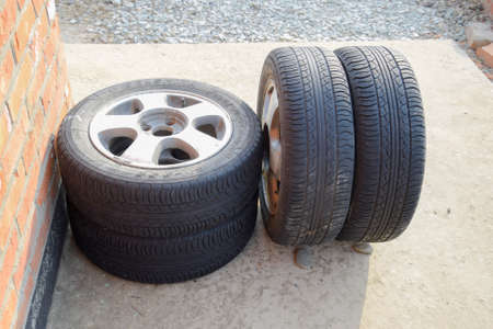 dirty car: Four wheel drive. Rubber tires. Summer rubber set for the car.