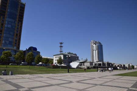 stele: Novorossiysk, Russia - September 9, 2016: marina and quay of Novorossiysk. Urban landscape of the port city.