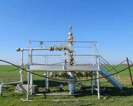 Oil well. The equipment and technologies on oil fields. Stock Photo