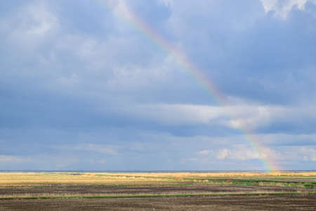 Rainbow, a view of the landscape in the field. Formation of the rainbow after the rain. Refraction of light and expansion in terms of spectra.