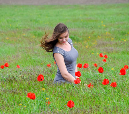 Beautiful fairy young girl in a field among the flowers of tulips. Portrait of a girl on a background of red flowers and a green field. Field of tulips. Stock Photo