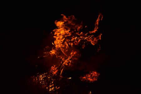 Fire. Burning of rice straw at night. Stock Photo