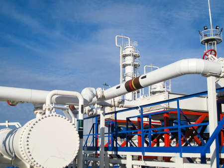 Heat exchangers in a refinery. The equipment for oil refining.Heated gasoline air cooler