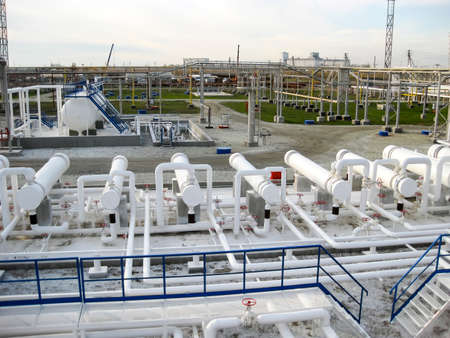 hydrocarbon: Heat exchangers in a refinery. The equipment for oil refining. Stock Photo