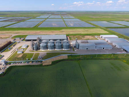 galvanized: Grain terminal. Plant for the drying and storage of grain. Rice plant in the middle of fields. Top view. Stock Photo
