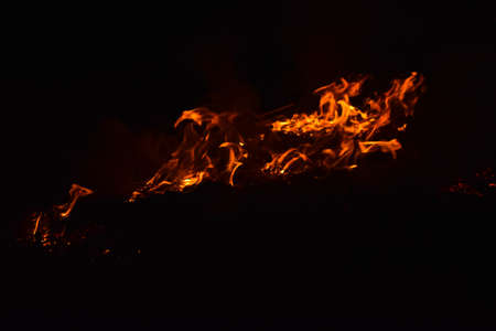 Fire. Burning of rice straw at night. Stock Photo