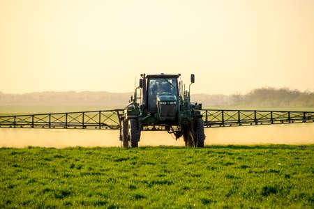 Traktor mit hohen Rädern macht Dünger auf Jungweizen. Die Verwendung von fein dispergierten Spritzchemikalien. Traktor auf dem Sonnenuntergang Hintergrund. Standard-Bild - 81541234