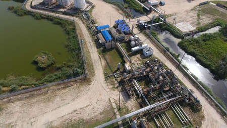Top view of the equipment for oil separation. Equipment for the drying gas and condensate collection. Oilfield equipment. Stock Photo