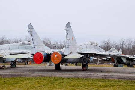 Military aircraft fighters at the airport. Old decommissioned aircraft. Krasnodar airfield