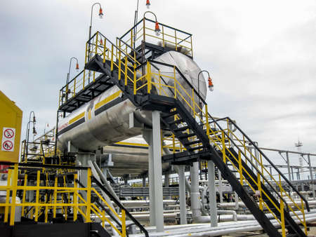 Bullets for process water in the oil field. Buffer tanks for formation water