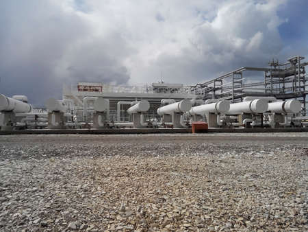 Heat exchangers for heating of oil. Oil refinery. Equipment for primary oil refining.