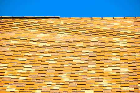 galvanized: Roof from multi-colored bituminous shingles. Patterned bitumen shingles